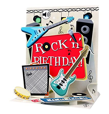 Sonido Pop Up 3d Tarjeta Cumpleanos Musica Rock N Roll Guitarra 18