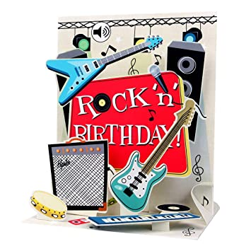 Amazon Rock N Roll Birthday Card 3D Pop Up Musical Greeting