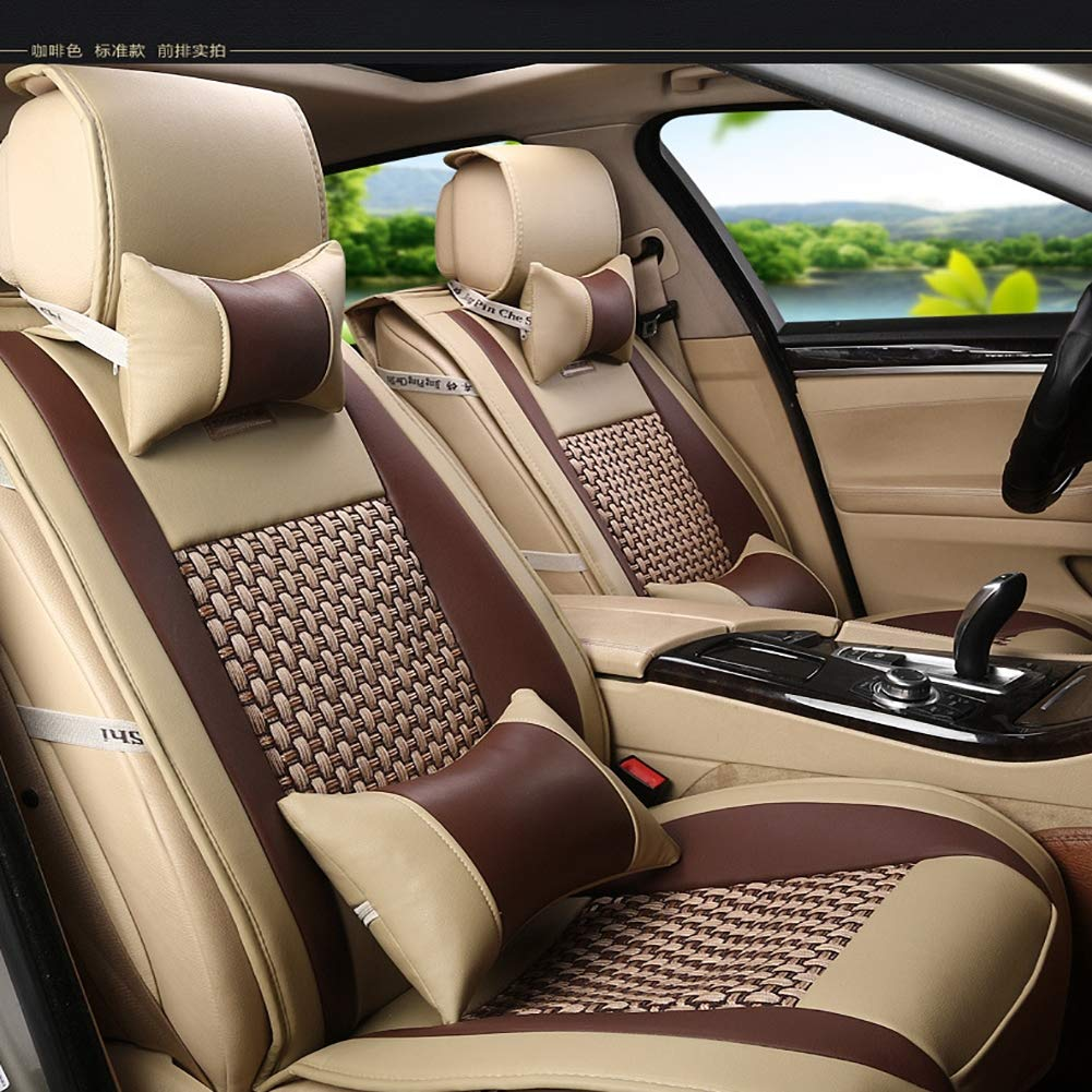 All-Inclusive Four Seasons New Leather Ice Silk Five-Seat Car Seat Car Seat Cover Four Seasons Cushion (Coffee Brown)