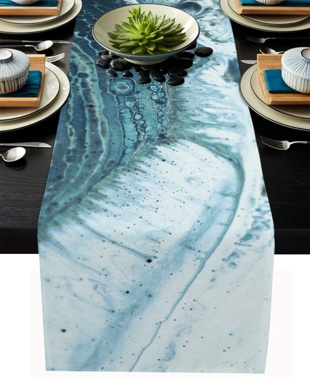 Marble Table Runner-Cotton linen-Long 72 inche Turquoise Dresser Scarves,Ink Texture Tablerunner for Kitchen Coffee/Dining/Sofa/End Table Bedroom Home Living Room,Scarfs Decor for Holiday Dinner