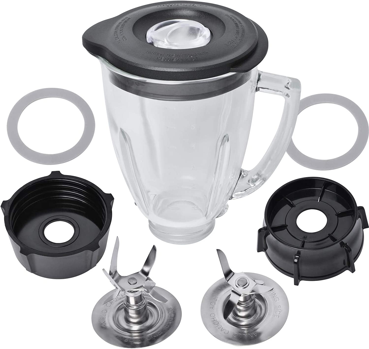 Replacement Parts Compatible with Oster Blender, 6 Cup Glass Blender Replacement Jar with Lid, 4961 4-Point Ice Blade, 4902 Bottom Cap and Rubber Gasket Kit for Oster & Osterizer Blenders Accessories