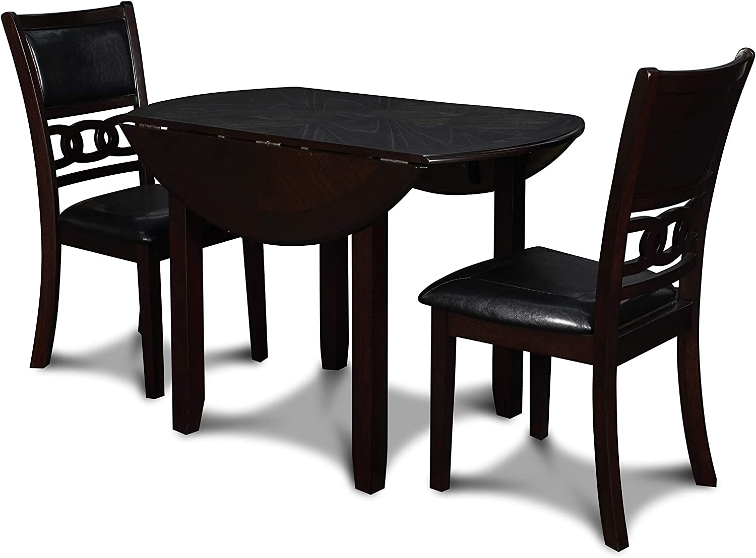 New Classic Furniture Gia Drop Leaf Dining Table with Two Chairs, 42-Inch, Ebony