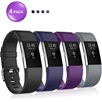 Soulen Replacement Bands Compatible with Fitbit Charge 2,Silicone Adjustable Replacement Wristband for Fitbit Charge 2 Smart Watch Heart Rate Fitness Wristband Small Large 1-Pack 4-Pack 8-Pack