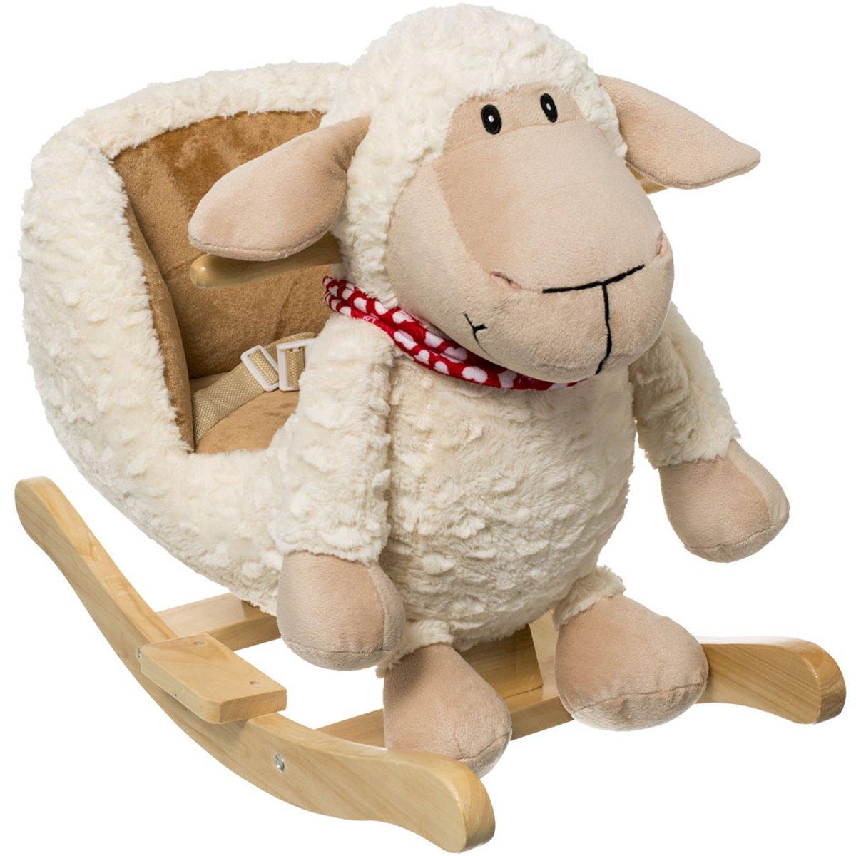 Schaukeltier Schaf, mit Sicherheitsgurt, Plüsch, beige, ab 9 Mon. • Baby Schaukel Schaukelpferd Plüsch Tier Schaf Holz Wippe