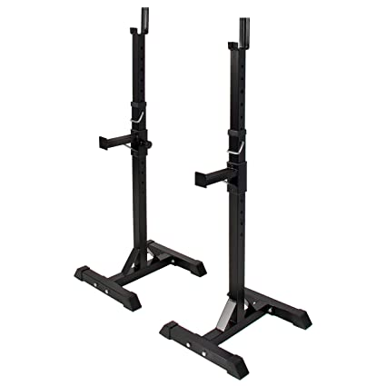 amazon com pair of adjustable standard solid steel squat standsamazon com pair of adjustable standard solid steel squat stands barbell free bench press stands sports \u0026 outdoors