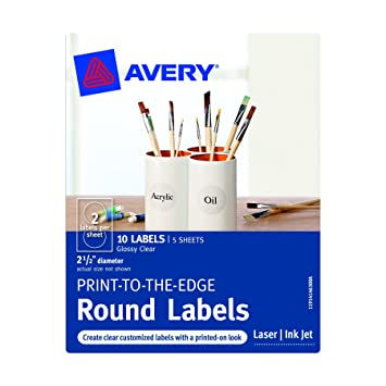 amazon com avery print to the edge round labels clear 2 5 inch