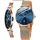 Women's Watch (Luxury Upgrade Version),OLEVS Women's Dress Watches Rose Gold Gold Women Watch,Stainless Steel Mesh Ultra Thin
