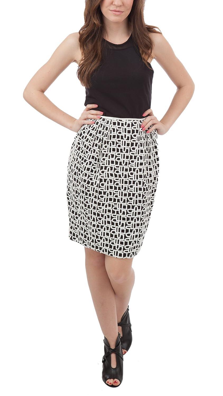 d27208cd249e Carmen Marc Valvo Beaded Pencil Skirt, Ivory/Black, 2 at Amazon Women's  Clothing store: