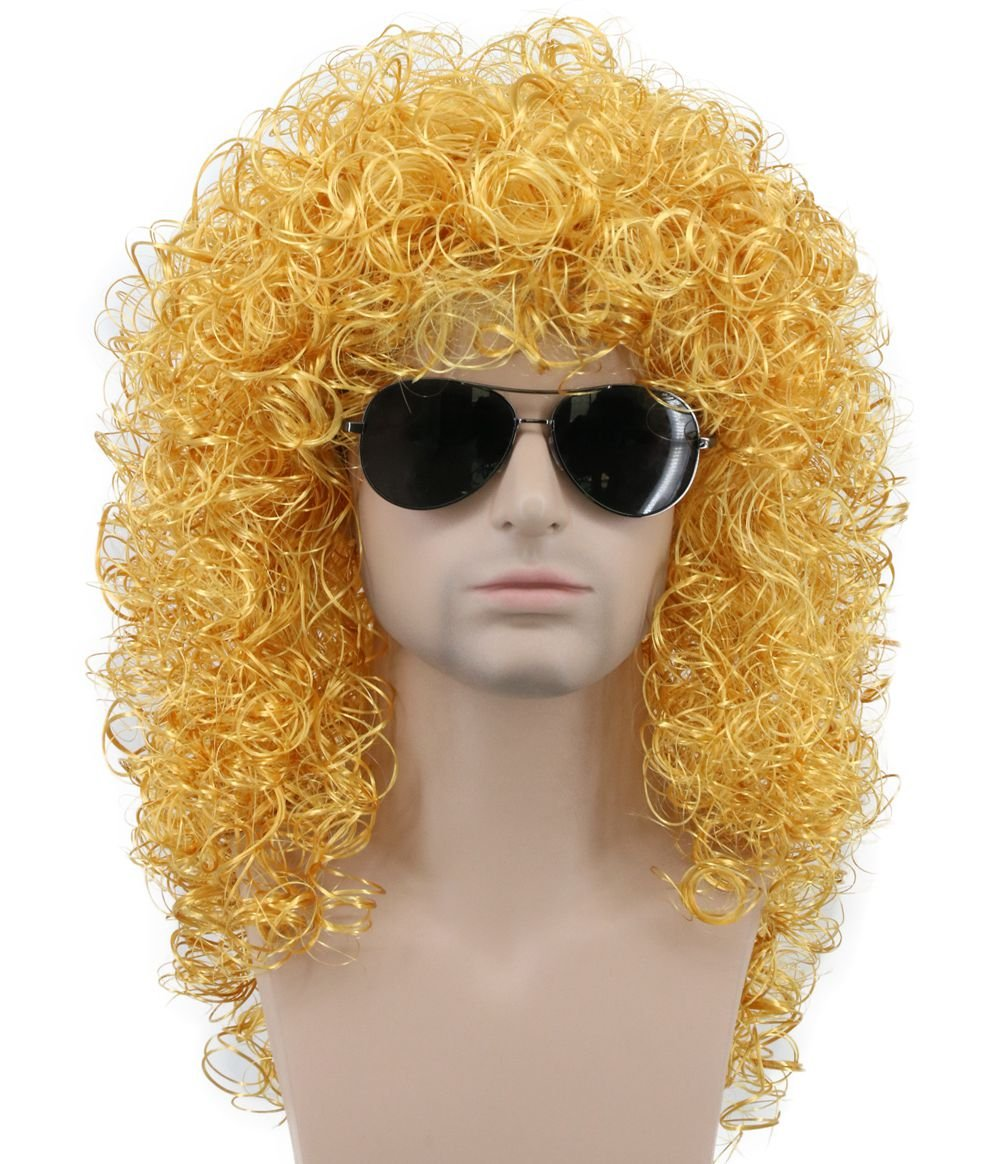 Karlery Mens Long Curly Gold Wig Halloween Costume Anime Party Cosplay Wig 80s Heavy Metal...