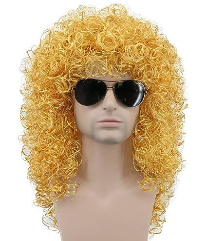 Karlery - Peluca para hombre, larga, rizada, dorada, para disfraz de Halloween