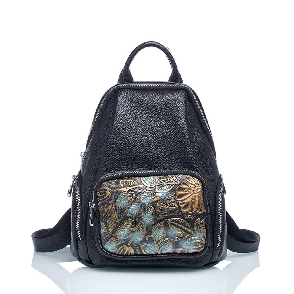 C&Q CQ カウハイド刺繍 ナショナルスタイル ショルダーバッグ レディース 旅行用バックパック ピュアレザー 大容量ハックパック B07HM8JQ54 パターン 25*10*28cm