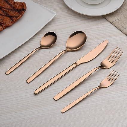Berglander 30 piezas de titanio rosa chapado en oro cubiertos juego, 30 piezas de cobre cubiertos set, copas de color plata set cubiertos juegos, ...