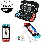 Nadole kit de accesorios Nintendo Swich  4 en 1 con Funda Nintendo Switch, Carcasa Transparente Joy-Con y Consola, 2...