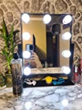 Hansong Hollywood Mirror with Light,Large Lighted Vanity Makeup Mirror,Smart Touch Control 3 Colors Dimable Light…