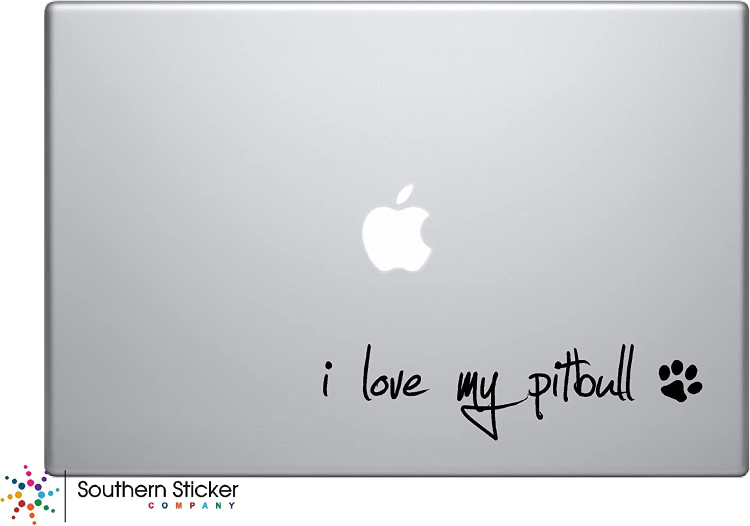 I Love My Pitbull Text Black Symbol Dog Puppy heart paw bone Love Iphone Silhouette Decal Humor Macbook Symbol Iphone Disney Apple Ipad Decal Skin Sticker Laptop