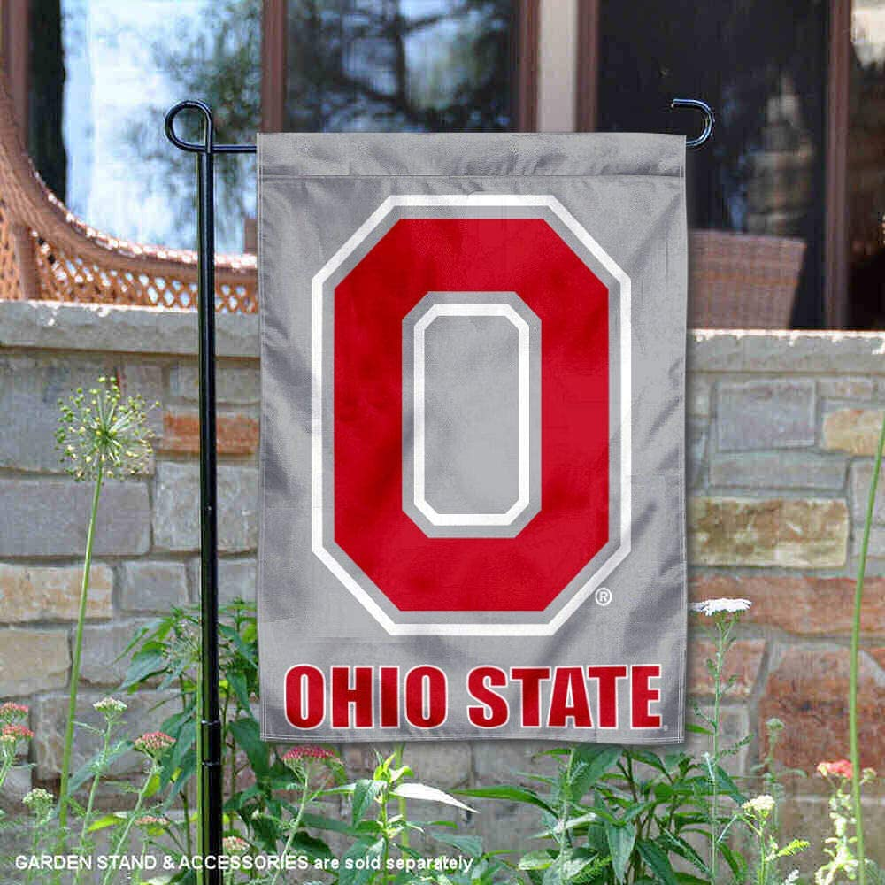 College Flags and Banners Co. Ohio State Buckeyes Grey Block O Garden Flag