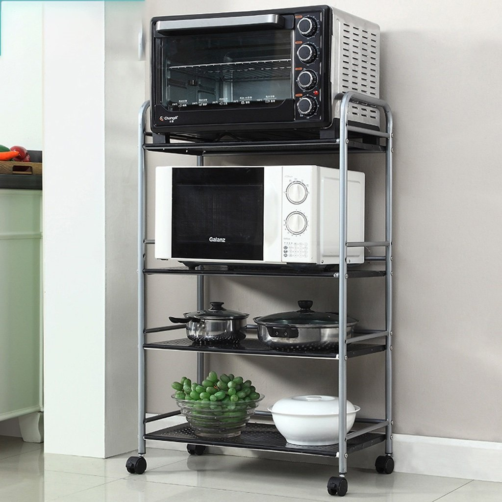 Hyun times Kitchen Shelf Microwave Storage Shelf Four - Storey Strap Wheel Storage Trolley Shelf