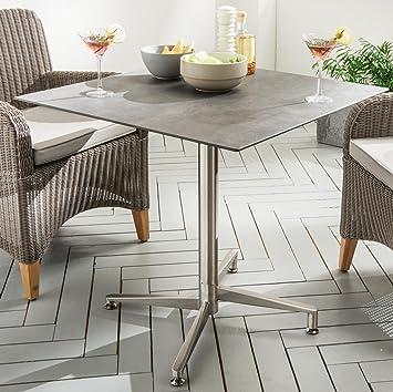 Amazon De Destiny Tisch Loft Gartentisch 80 X 80 Edelstahl Hpl