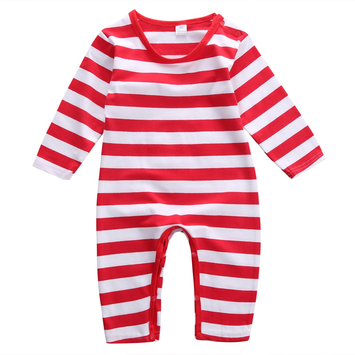 Magical Baby Baby Boys Girls Christmas Long Sleeve Red White Striped Snowman Romper