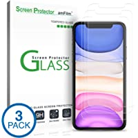 "amFilm Glass Screen Protector for iPhone 11 / iPhone XR (6.1"" Display) (3 Pack) with Easy Installation Tray"