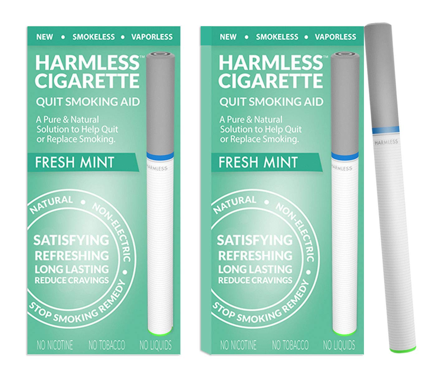 Harmless Stop Smoking Aid - 4 Week Quit Kit - Stop Smoking Aid - Includes Free Quit Smoking Support Guide.(Fresh Mint, 2 Pack)