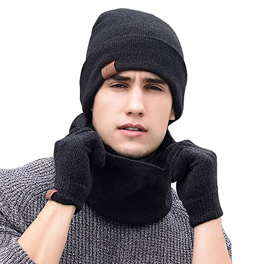 02c3929be6720 Unisex Winter Knit Beanie Caps + Circle Scarf + Touch Screen Gloves ...