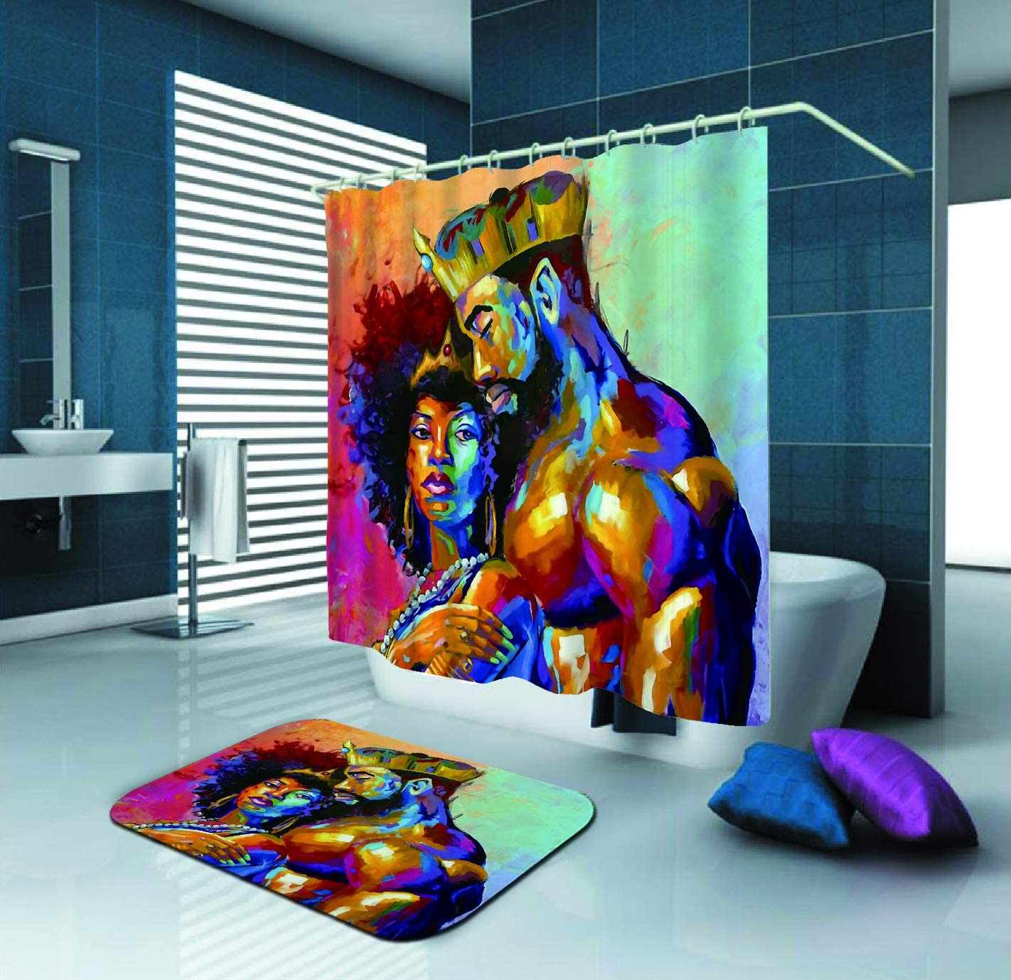 King Queen Couple African Shower Curtain Fabric Lovers Home Decoration Bath Rugs