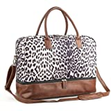 MyMealivos Canvas Weekender Bag, Overnight Travel Carry On Duffel with Shoe Pouch (Leopard)