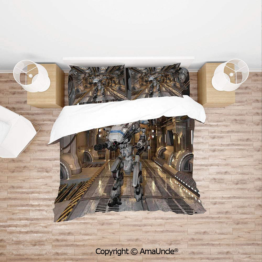 SCOCICI Battle Robot with in a Ship Technological Combat Futuristic Warfare Image 4pc Bedding Sets,1Duvet Cover,1Flat/Fitted Sheet,2 Pillowcase(no Comforter Inside)