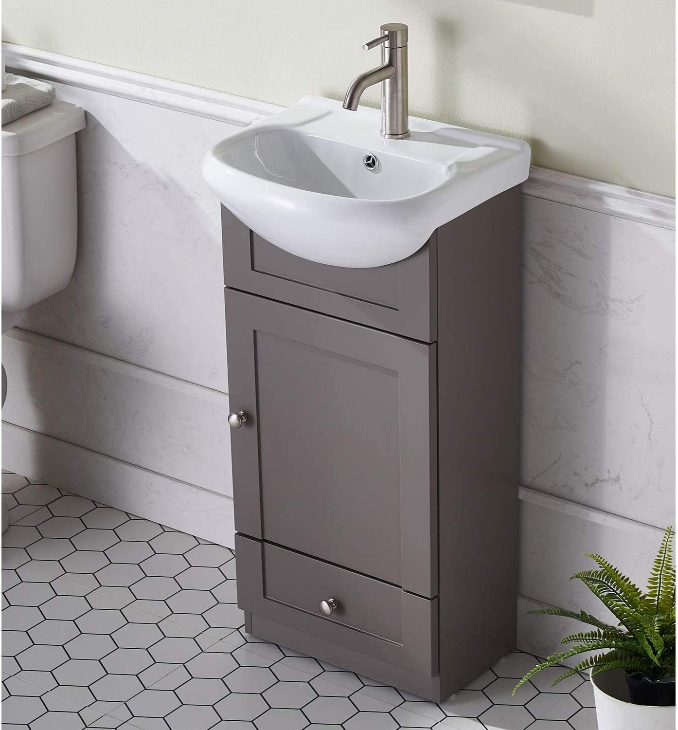 Amazon Com Modern Design 18 Grey Khaki Stand Bathroom Vanity For Small Space Bathroom Sink Vanity Combo Cabinet Set With White Countertop Ceramic Vessel Sink Kitchen Dining