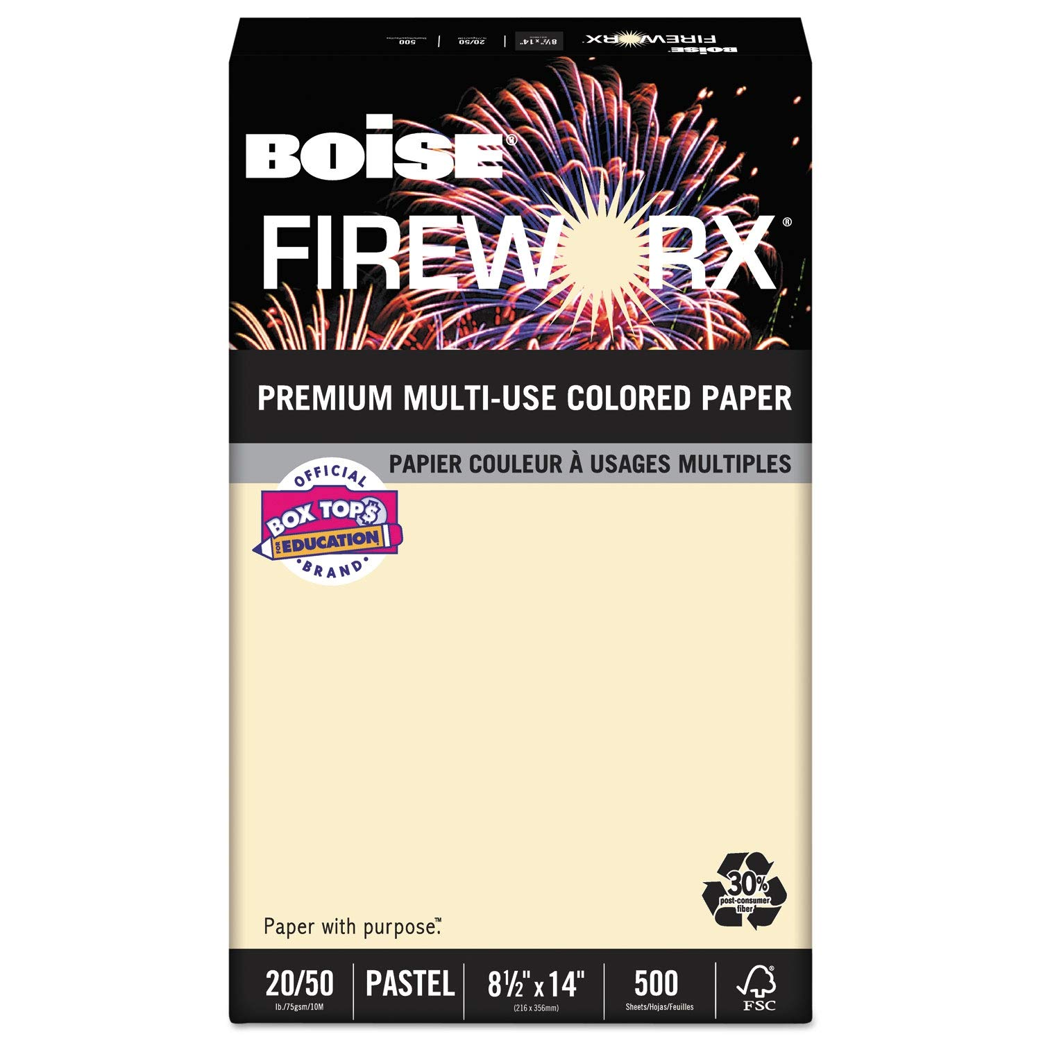 Boise FIREWORX Colored Paper, 20lb, 8-1/2 x 14, Flashing Ivory, 500 Sheets/Ream - MP2204IY, (Pack of 2)