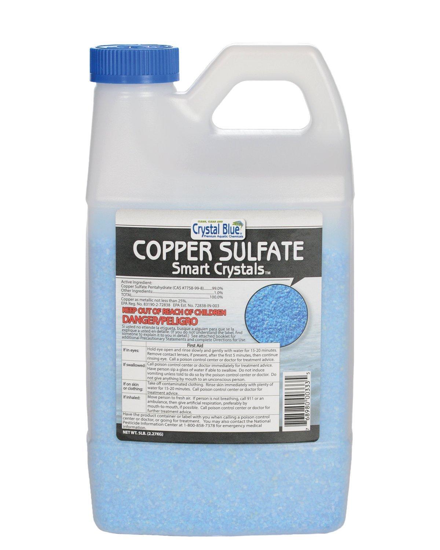 Crystal Blue Copper Sulfate Algaecide - Aquatic Grade Granular Pond Algae Control - 5 lbs by Sanco Chemicals