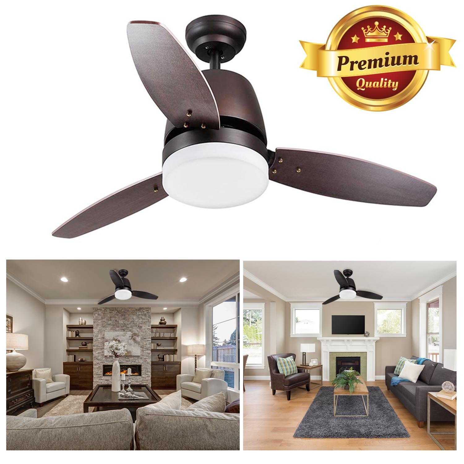 """GC Global Direct 42"""" Dimmable Ceiling Fan with Light & Remote Control Opt (3 Blade Bronze)"""