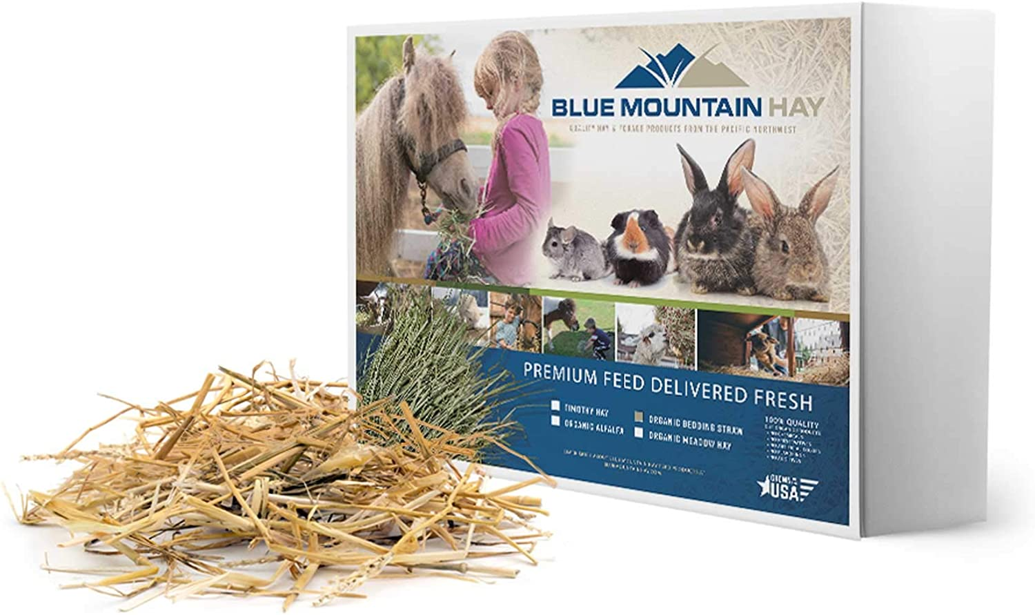 Blue Mountain Hay Organic Bedding Straw for Guinea Pigs, Chinchillas, Rabbits, Chickens and Small Pets