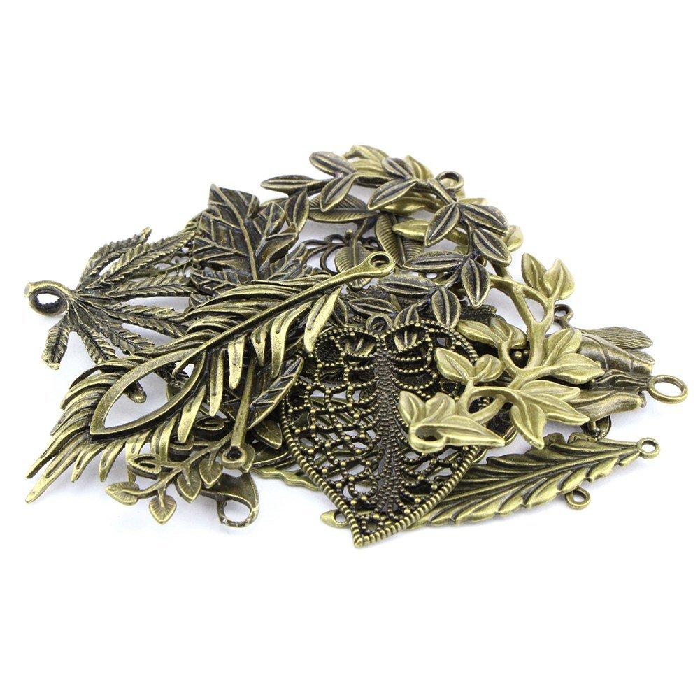 kingmia Vintage Bronze Mixed Tree Leaf Thema Ton Legierung Charms für DIY Schmuck zu (20Stück)