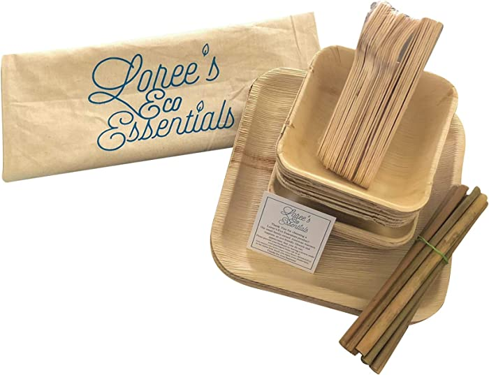 Loree's Eco Essentials Biodegradable Disposable 70 Piece Plates, Bowls, Utensils, Straws Bamboo, Palm Leaf Dinnerware, Picnic Set for Breakfast, Lunch, Dinner