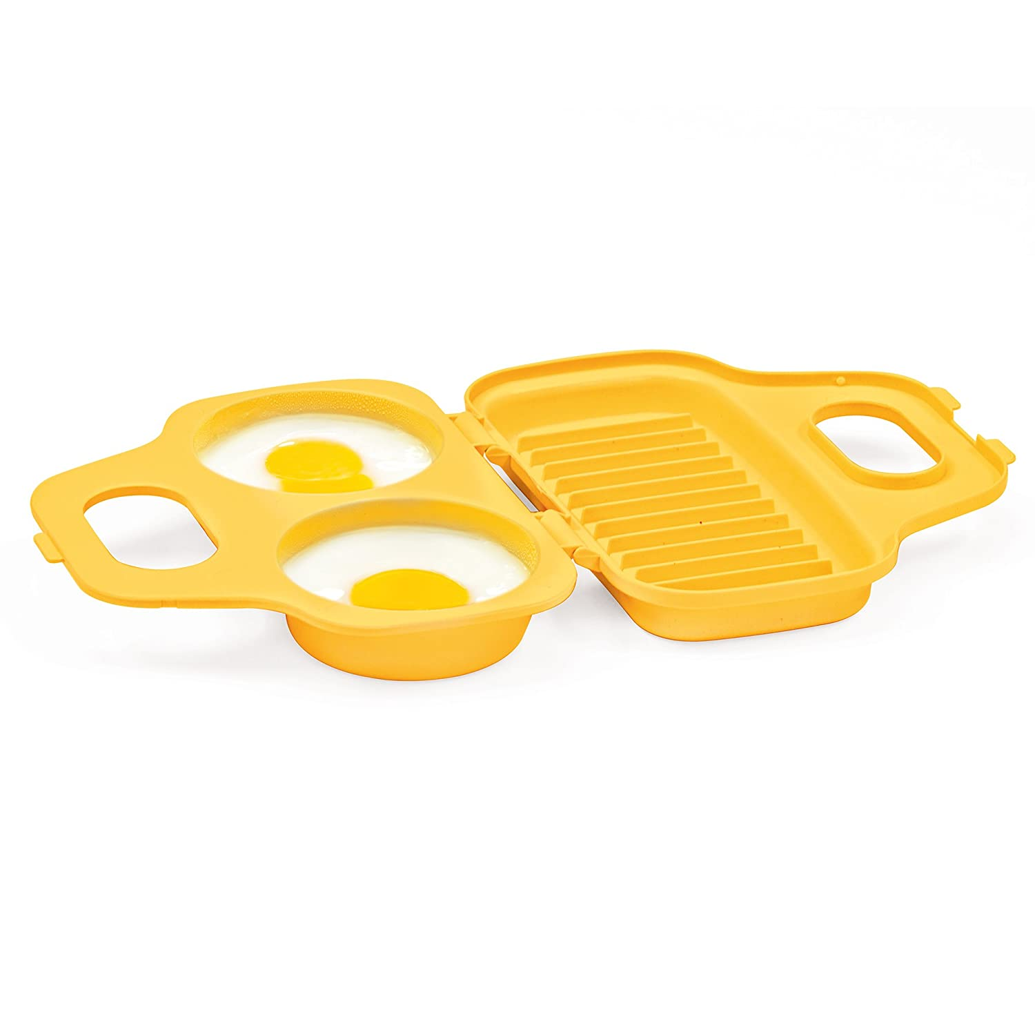 Yellow PS-77Y Easy-To-Use Dishwasher Safe Low-Calorie Breakfasts Prep Solutions by Progressive Microwave 4 Egg Poacher Lunches And Dinner