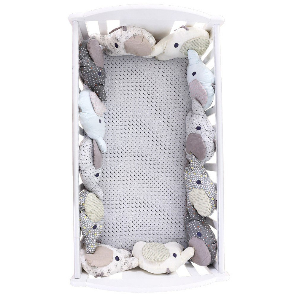 YWXJY Baby Infant Crib Bumper Pads Bed Cradle Protector Breathable, Cot Sleep Bumper Pillow, Plush Toy, Bed Decoration, Cotton, 4 Seasons Universal, Embroidery, 6pcs Set