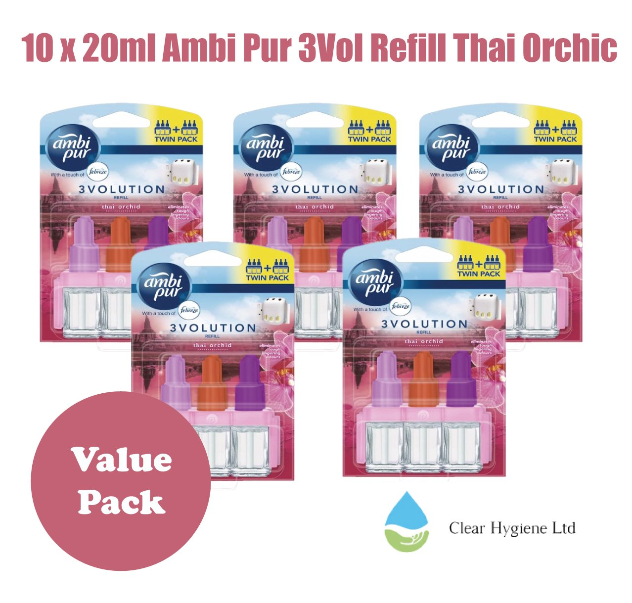 5 x 2 - 20ml Ambi Pur 3VOL Thai Orchid