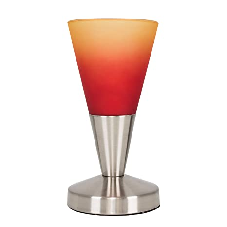 MiniSun - Lámpara de mesa táctil Flamme Rouge - Moderna, forma cónica, con acabado en níquel y cristal rojo anaranjado