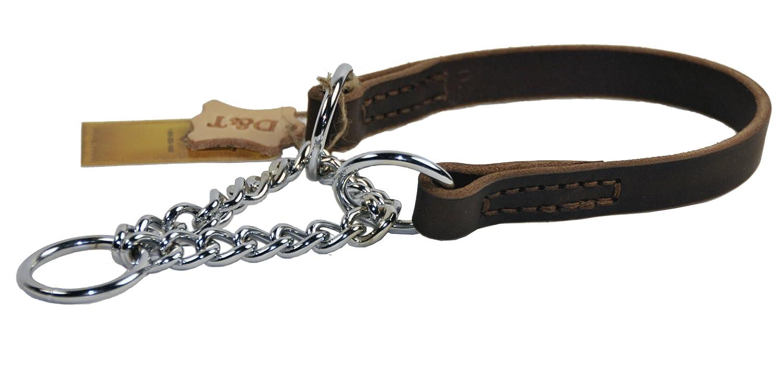 Dean und Tyler Leder Martingal Hund Choke Halsband mit verchromter Stahl Kette, 56x 2cm, braun