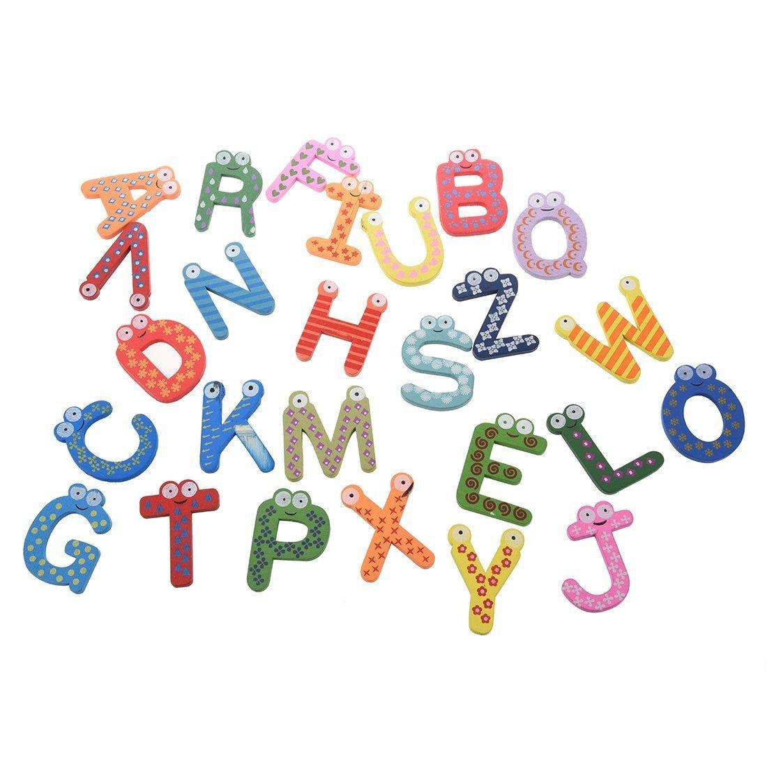 apprendimento Giocattoli - SODIAL(R) 26 A-Z lettere dell'alfabeto magneti da frigorifero legno decorazione della casa LEPAZN4450