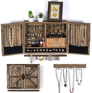 Wall Hanging Jewelry Organizer Rustic| Wall Mounted Mesh Jewelry Holder | Wooden Wall Mount Holder for Necklaces, Bracelets, Earrings, Ring Holder, Accessories | Hanging Jewelry Box