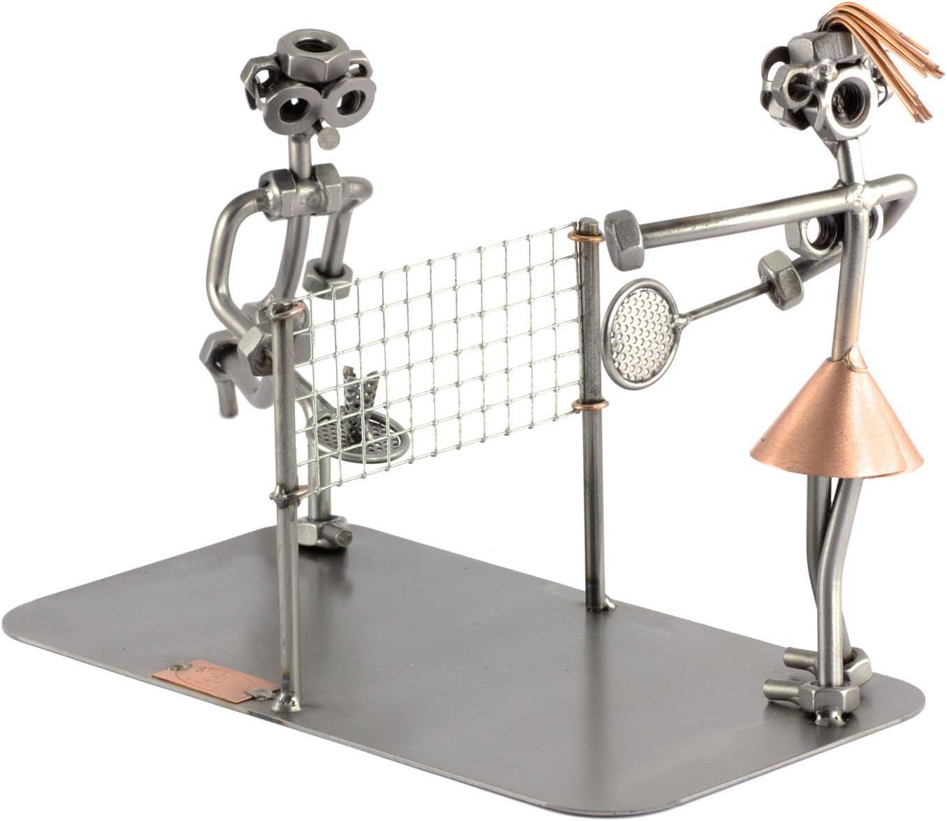 Steelman24 I Figurine en m/étal Badminton 2 Personnes I Made in Germany I Id/ées Cadeaux I Sculpture d/'Acier I Hommes de m/étal