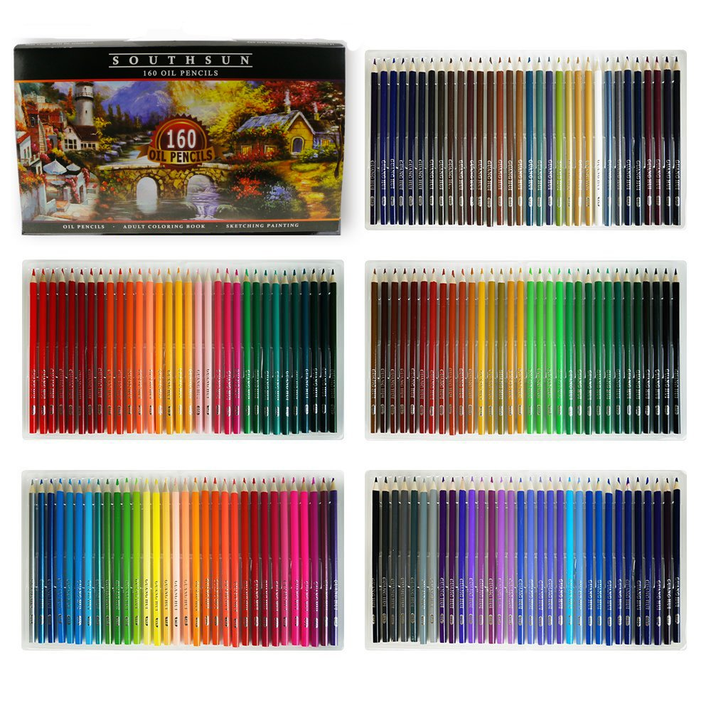 160 Colors Wood Colored Pencils Set Artist Painting Oil Based Pencil for School Drawing Sketching Art Supplies ... by Southsun