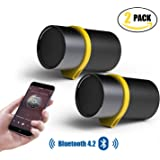 Mini Bluetooth Speaker,PURIDEA i6+ Outdoor Speaker Fashion Hybrid Aluminium PU Leather, Portable Wireless Speaker with Enhanced Bass for iPhone, iPad, Samsung, Nexus, HTC, Laptops and More - Perfect for Car, Indoor, & Outdoor(2 PACK)