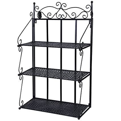 best service 01a09 74fcb SONGMICS Wall Shelf, 3 Layers Bookcase Shelves, Bathroom Wall Mounted  Storage Rack, Metal, Black LSN03B