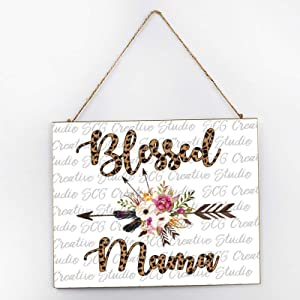 Diuangfoong Watercolor Arrow Blessed Mom Vintage Wood Print, Rustic Wooden Wall Decor, Sign Wall Decor for Kitchen, Inspirational Wall Art, Wall Hanging Wood Sign 25300.5cm