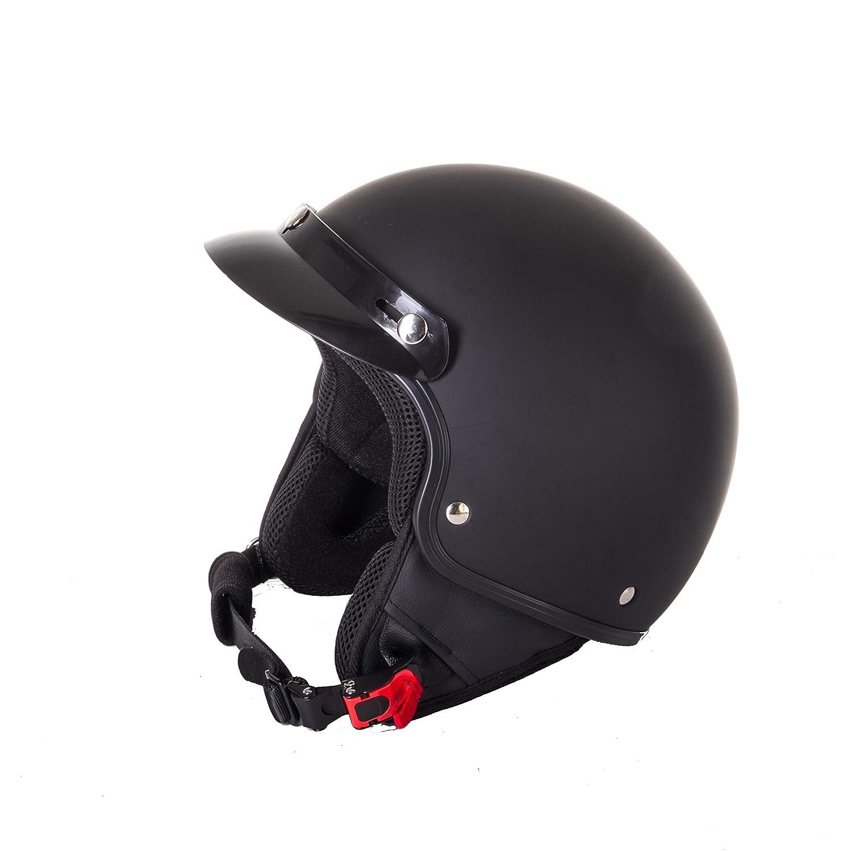 color negro mate chopper casco de crash Cruiser Bobber VESPA Casco abierto 3GO E9 corto y ligero para motocicleta para motociclista piloto