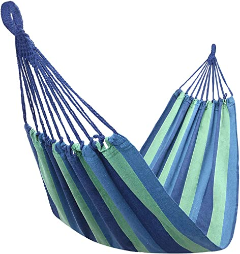 Camping Hammock, Portable Comfortable Hammock, Durable Canvas Lightweight Single Hammock, Adjustable Easy to Fix Anti-Rollover Parachute Outdoor Hammock for Travel, Beach, Yard Blue Hammock